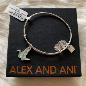 NWT Alex and Ani Paper Crane Silver Charm Bangle